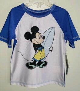 Old Navy Boys 12-18 18-24 MONTHS 4T Mickey Mouse Rash Guard Swim Shirt Disney