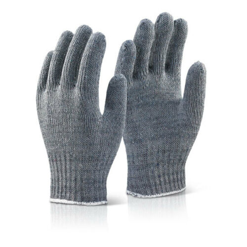 240x Pair Click Mixed Fibre Grey Knitted Work Gloves Liner Minimal Risk Handling