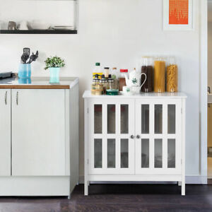Details about Kitchen Storage Cabinet Sideboard Buffet Cupboard Wood Glass  Door Pantry White