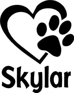 Details About Paw Print In Heart Personalized Vinyl Decal Sticker Window Dog Pet Animal Name
