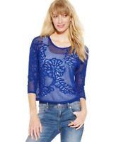 Inc International Concepts Sweater Cropped Open Knit Linen Blend Goddess Blue M