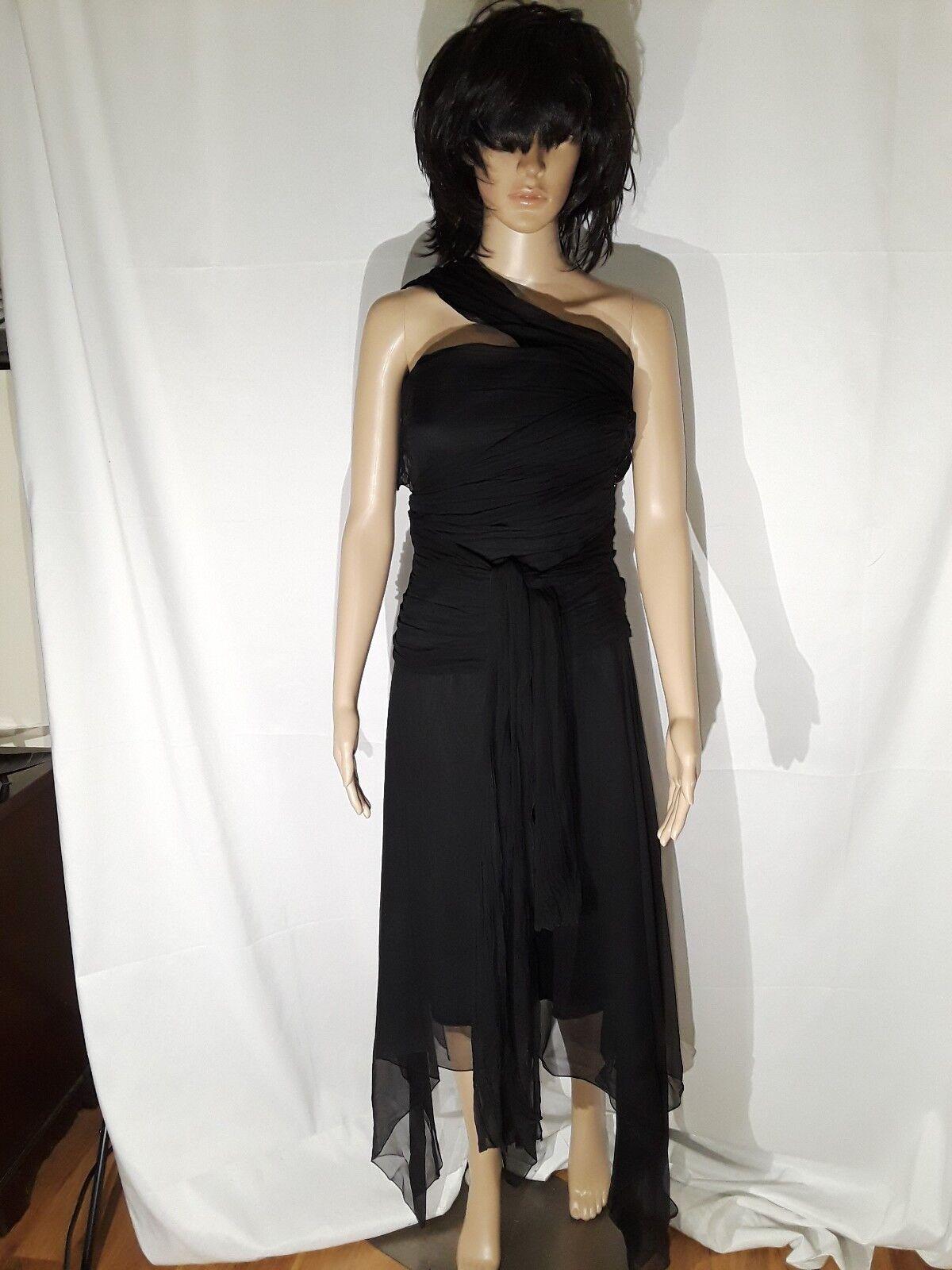 Morgane Le Fay schwarz silk Strapless dress Größe S