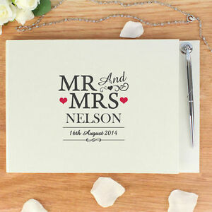 Personalised mr and mrs message guest book pen set wedding image is loading personalised mr and mrs message guest book amp negle Choice Image