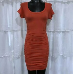 XS-NWOT-SPLENDID-Ruched-Tencel-Bodycon-Dress