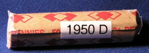 """1950 D United States Lincoln /""""WHEAT/"""" Used//Circulated Pennies ONE Roll of 50"""