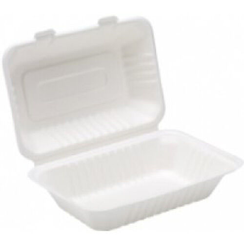 125 x Weiß Paper Lunch Box 9x6  Container - Biodegradable Bagasse Sugarcane