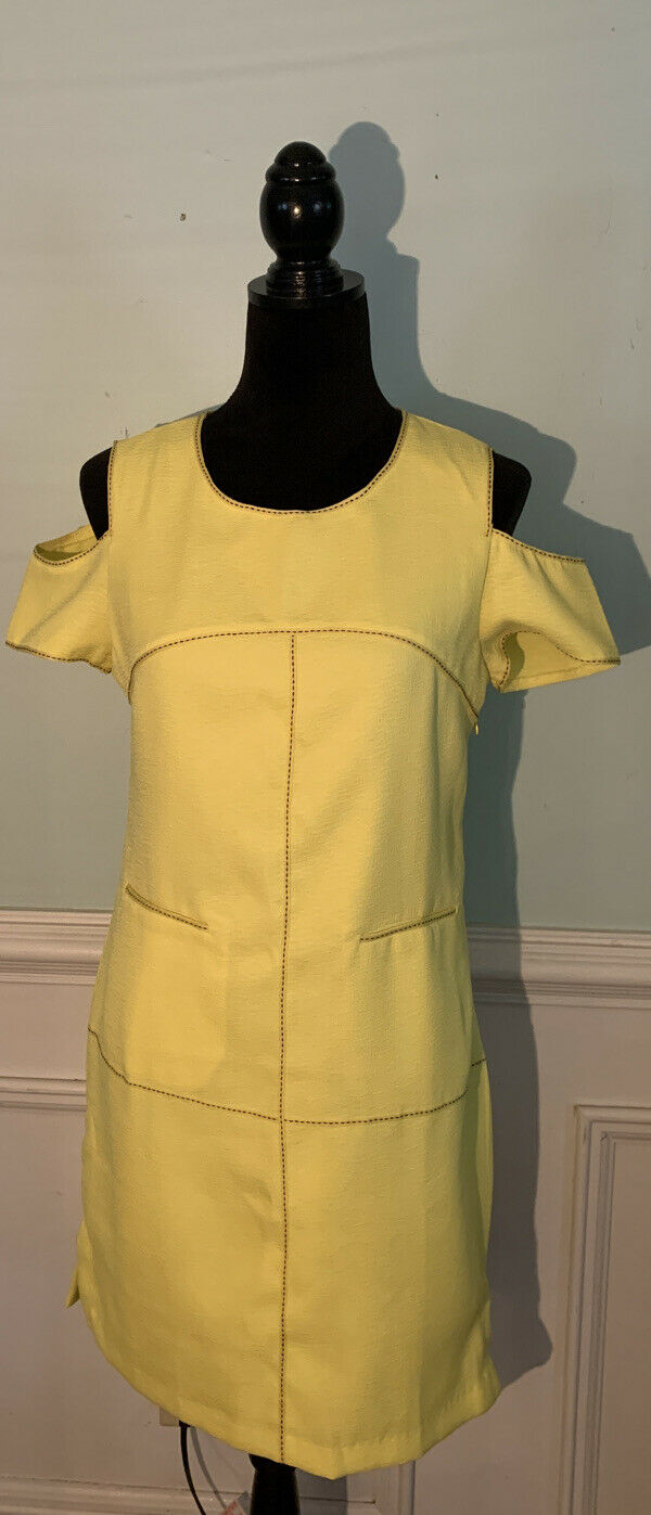 Esley bright yellow cold shoulder dress size medi… - image 1