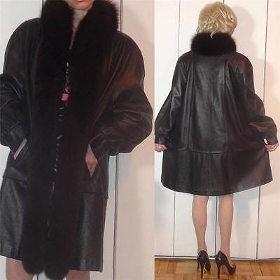 GORGEOUS JANUCCI SWING BLACK LEATHER COAT FOX FUR SHAWL COLLAR SCALLOP DESIGN M?