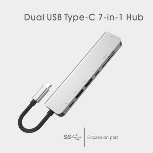 7-in-1 USB C Hub Type C Hub Adapter with HDMI USB 3.0 Ports USB-C Power Delivery