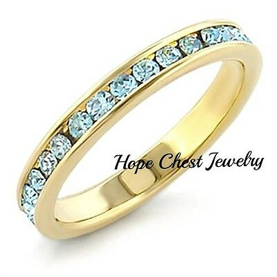 WOMEN'S GOLD TONE 1.25 CT CRYSTAL BABY BLUE ETERNITY BAND RING SIZE 6,7,8,10