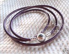 """NEW 100% Authentic PANDORA Intuition PURPLE Leather/Silver BRACELET 22.4""""/57cm"""