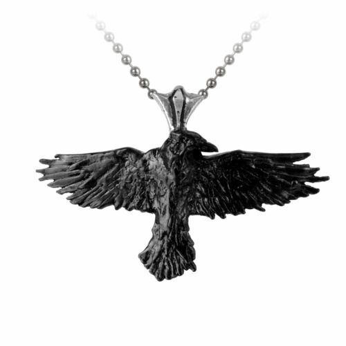 Alchemy Gothic Black The Raven Undead Pewter Pendant On Ball Chain