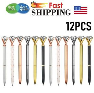 12-Pieces-Big-Crystal-Diamond-Pen-Metal-Black-Ink-Ballpoint-Pens