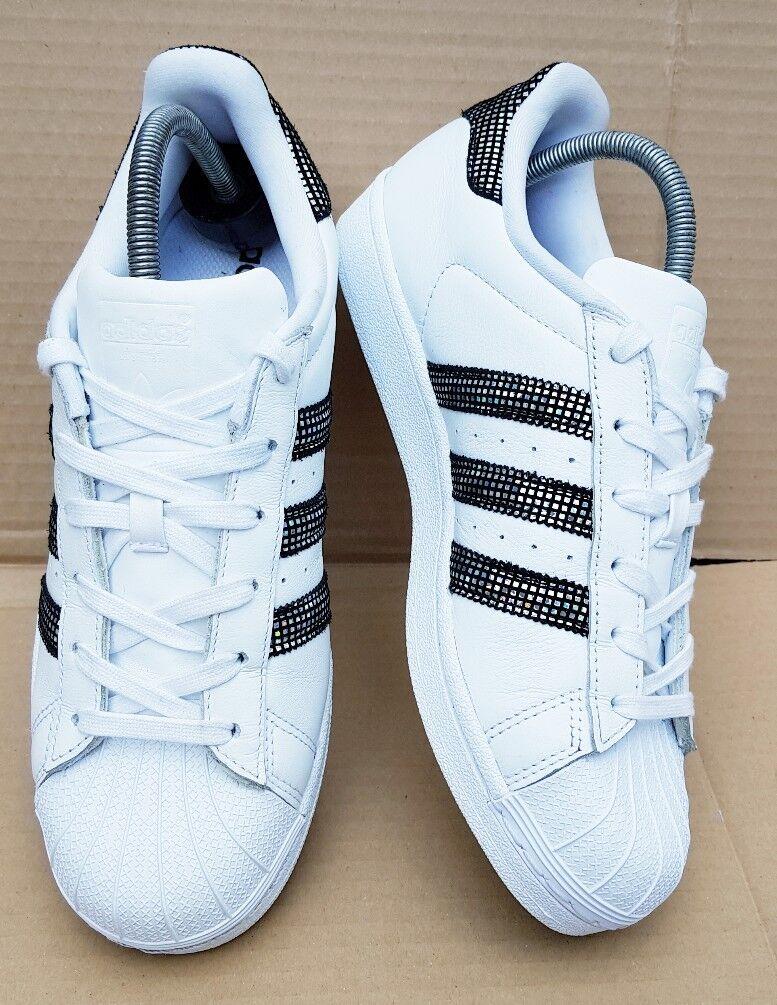 RARA  Adidas Superstar Zapatillas Reino Unido blancoo Disco holográfico Inmaculada