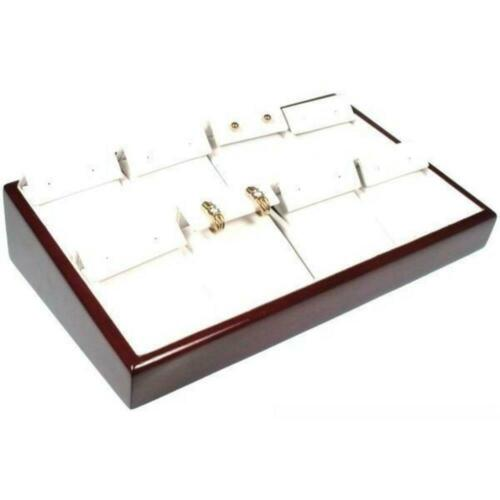 8 Slot White Faux Leather Rosewood Finish Earring Jewelry Display Tray