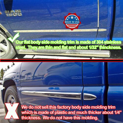 "2007-2013 GMC Sierra Crew Cab Flat Body Side Molding Stainless Steel 1.5/"" 4Pc"