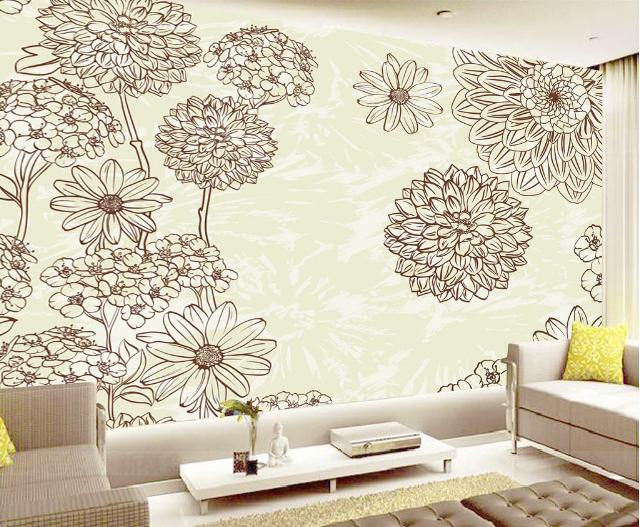3D Sketch Petal 495 Wallpaper Murals Wall Print Wallpaper Mural AJ WALL UK Lemon