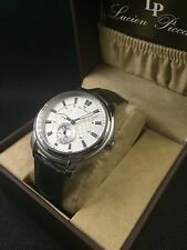 LUCIEN PICCARD Duval Men's Black Leather Watch 40032-02S NEW!