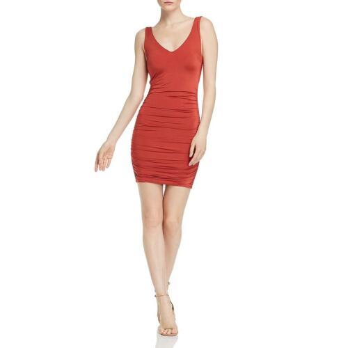Tiger Mist Womens Stephanie Orange Knit Ruched Mini Sheath Dress S BHFO 1321