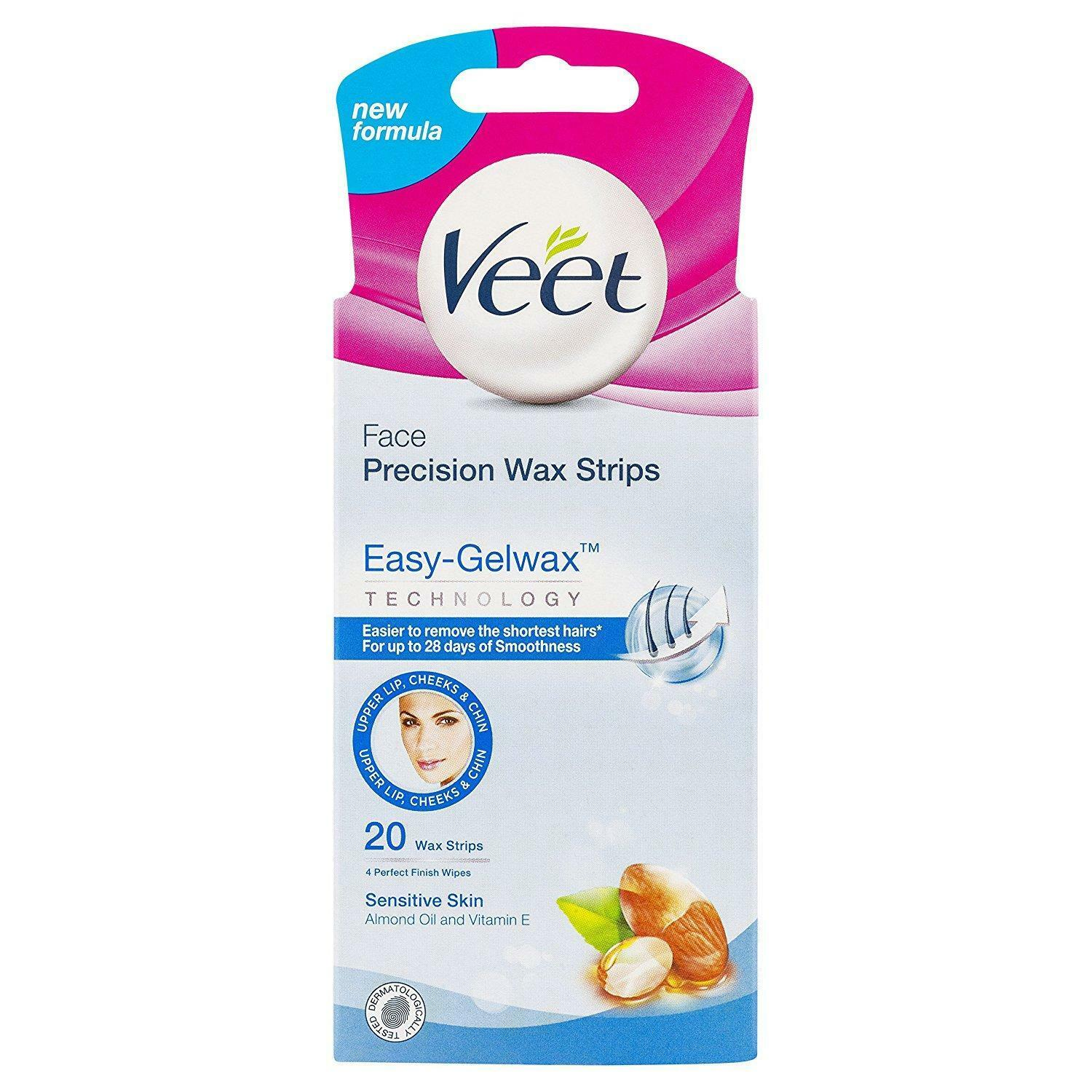 Veet Face Wax Strips X20 Sensitive Skin Depilatory Facial Hair