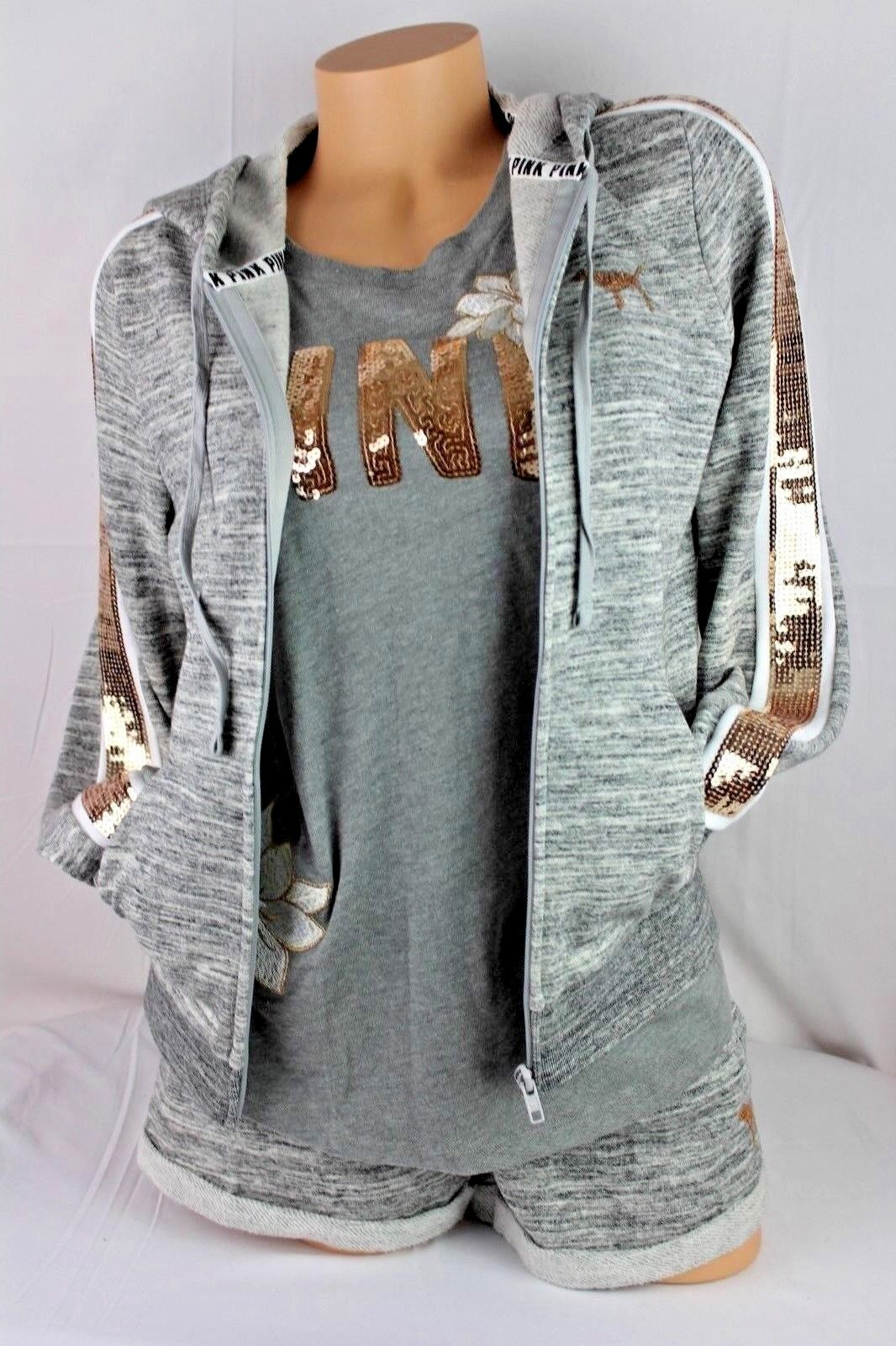 VICTORIA'S SECRET  PINK BLINK SEQUIN HOODIE TANK TOP SHORTS SET SIZE S M M SS121