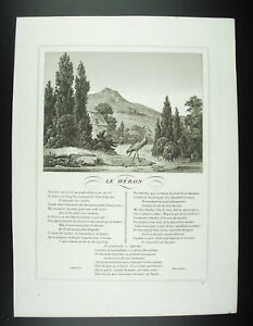 Der-Reiher-Fabeln-Jean-der-Brunnen-1834-Gravur-Print-XIX