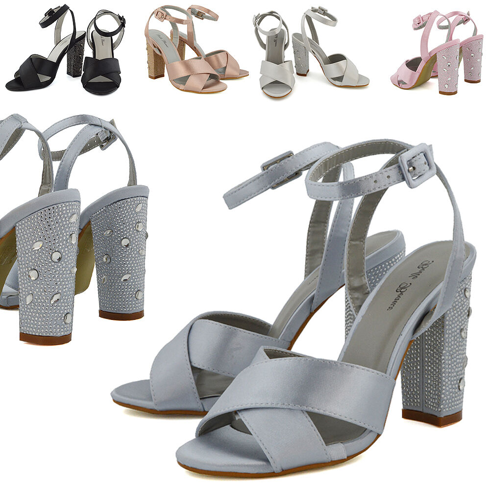 Womens Bridal Strappy Sandals Diamante Heel Party Ladies Satin Ankle Strap Party Heel Shoes 23e48f