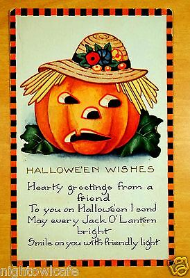 HALLOWEEN WISHES Jack O'Lantern Black Orange Check Border Whitney Postcard 1924