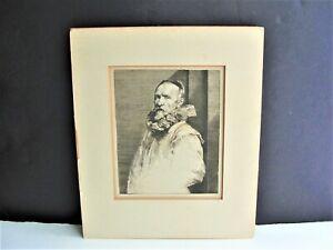 European-Elderly-Man-Vintage-1800s-Engraving-Art-Print-Matted-Unframed-RARE