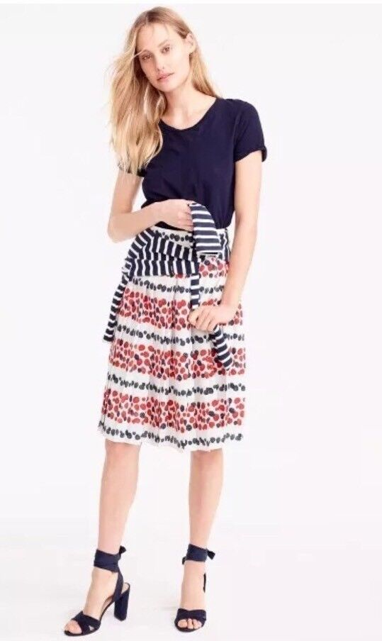 118. NWOT J Crew Pleated Rock in Berry Print Ivory Sz  6 Sold Out