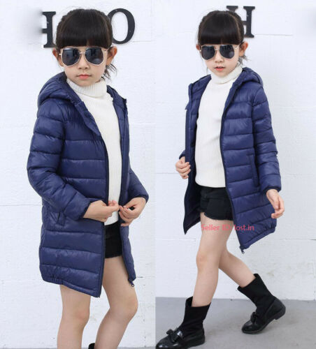 Kids Girls Boys Warm Cotton Down Jacket Hooded Quilted Coat Long Puffer Outwear