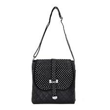 Women's Fashion Quilted Rivets Studded Crossbody Bag Messengers Black