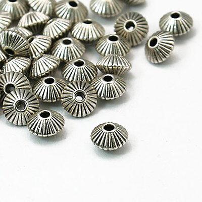 ★★ 30 Metallperlen BICONE 7,8mm Antik silber Spacer Zwischenperlen Schmuck - ZP1