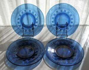 Tiara-Indiana-Glass-4-Imperial-Blue-Kings-Crown-10-034-Dinner-Plates