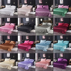 Satin-Silk-Flat-Bed-Sheet-Solid-Colour-Bedding-Quilt-Cover-Pillowcase-Home-Decor