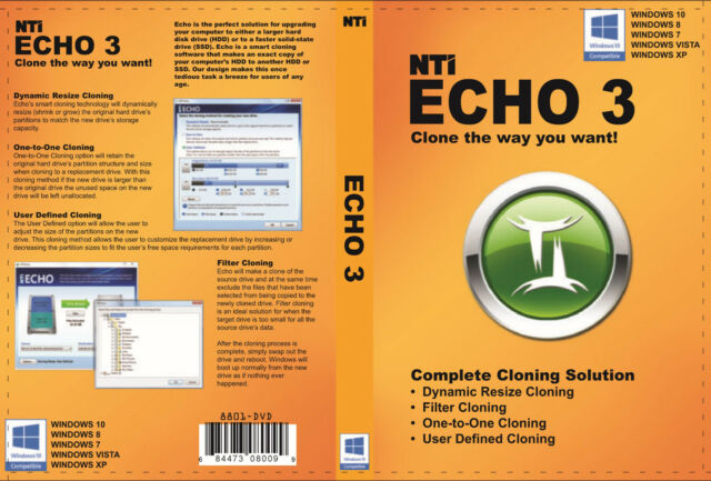 NTI Echo 3, Drive Cloning for Windows 10, 8 1, 8, 7, Vista or XP (1 PC)