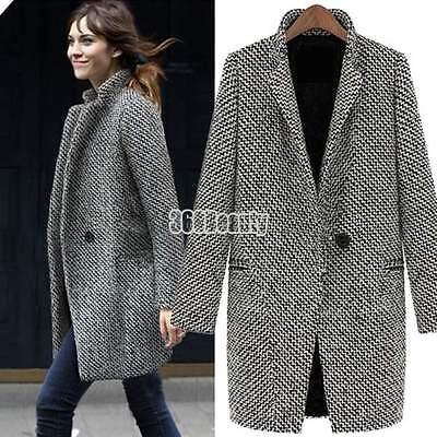 mujer invierno Parka Lana Largo Abrigo Más Grande chaqueta ropa de