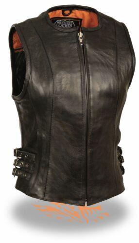 Ladies Long Length Leather Zipper Front Motorcycle Vest Triple Side Buckles