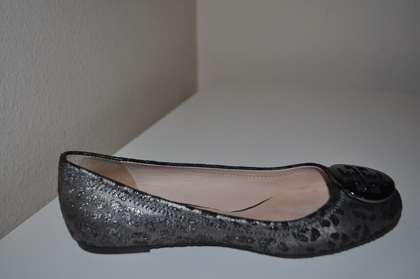 Tory Burch REVA Sz 7 Ballet Flat shoes Powdered Cheetah  Metallic Anthracite