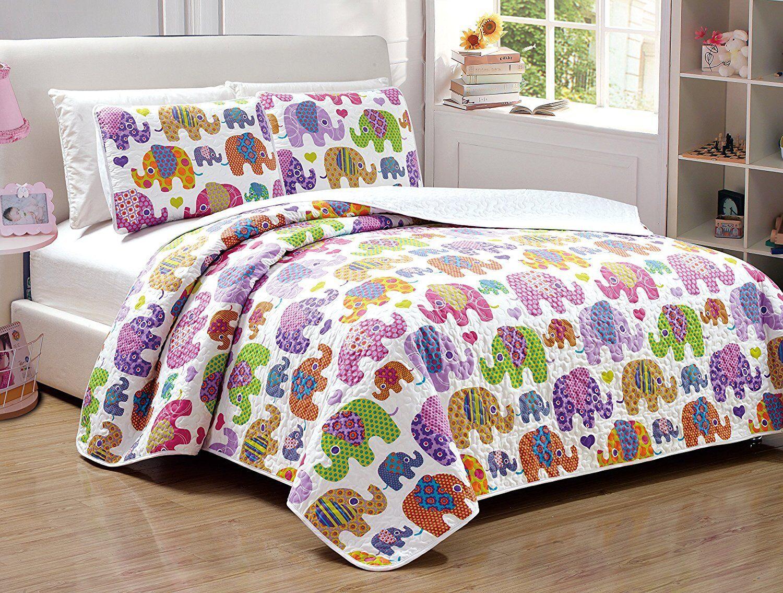 Fancy Linen Full Size 3pc Bedspread Quilt Elephant White Purple Pink Yellow New