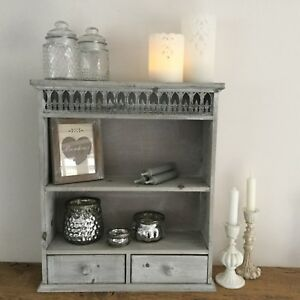 French Grey Chic Antique Shabby Style Shelf Wall Cabinet Unit ...