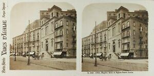 Italia Napoli Wharf E Chiesa Santa Lucia, Foto Stereo Vintage Analogica 61n74