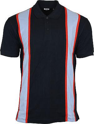 Men/'s Relco Burgundy Blue Northern Soul Slim Fit West Ham Clobber Ringer T Shirt