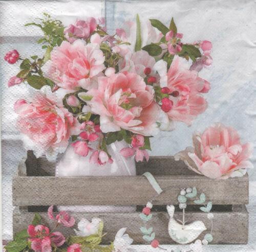 4 lose Servietten Napkins Blumen in Vase Holzkiste Shabby