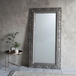 Versaille Large Silver Ornate Shabby Chic Full Length Leaner floor ...
