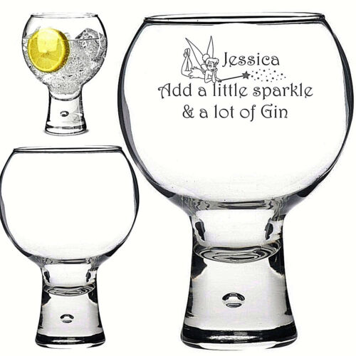 Personalised Engraved 540ml thick stem GIN glass TINKERBELL CHRISTMAS SPARKLE