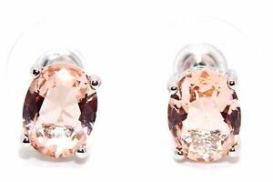 Sterling-Silver-Morganite-3-45ct-Stud-Earrings-925