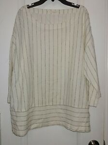 Eileen-Fisher-Tencel-Organic-Cotton-Blend-Striped-Top-Size-Large