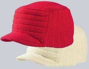 Tribe Visor Beanie/Schirmmütze/Strickmütze weiß, rot Einheitsgröße