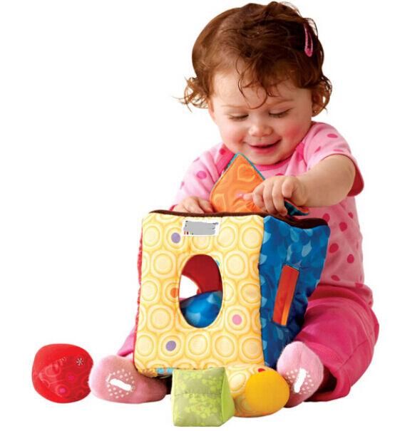 Plush square box educational toy hand-eye coordination shape color perception